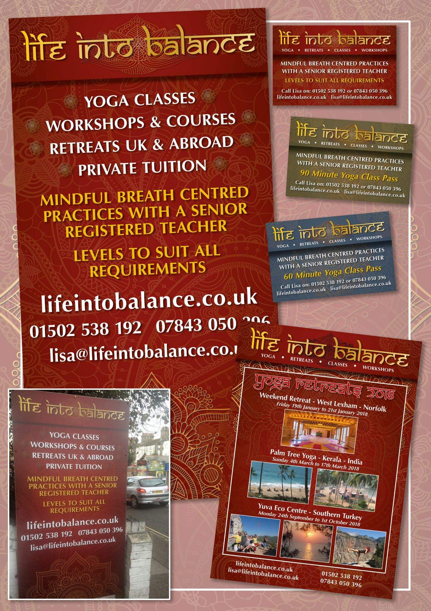 Yoga, Design, Flyers, Business cards, Sign, Photography